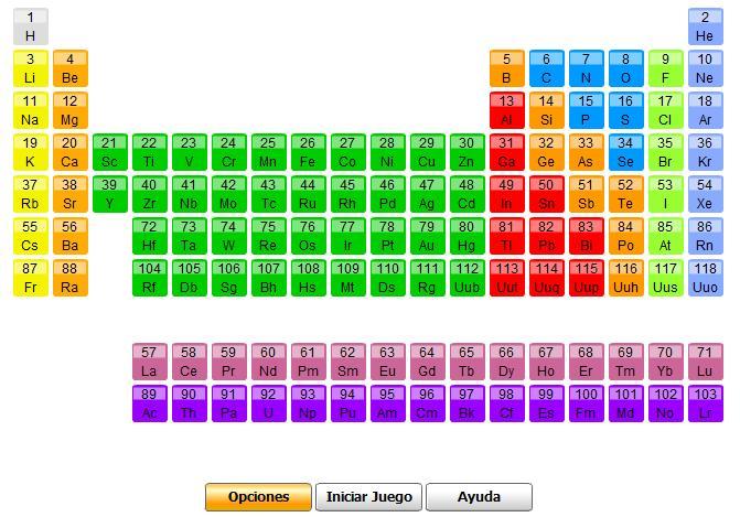 Qumica tic tictactuc diferentes elementos de la tabla podemos elegir el nivel que queramos segn nuestros conocimientos novato principiante medio avanzado y experto urtaz Images